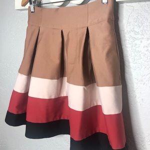 Zara basics pleated color block skirt